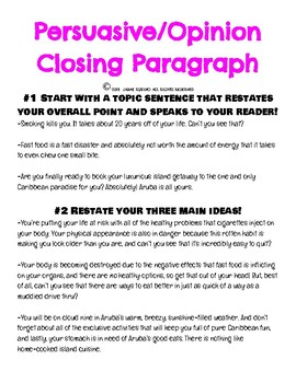 Persuasive/Opinion Writing! Closing Paragraph with Steps and Examples!
