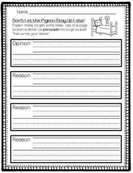 Persuasive Opinion Writing Freebie - Don't Let the Pigeon Stay Up Late!