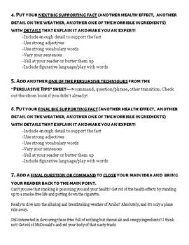 Persuasive/Opinion Writing! Main Idea Paragraph Steps, Examples, & Tips!