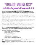 Persuasive/Opinion Writing! Main Idea Paragraph Steps, Exa