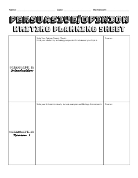 Persuasive/Opinion Writing Outline (Planning)