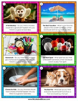 Persuasive Opinion Writing Prompt Task Cards