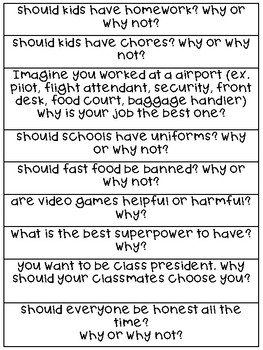 Persuasive/Opinion Writing Prompts