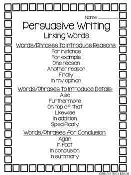 Persuasive / Opinion Writing Unit
