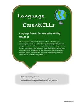 Persuasive/Opinion writing language frames (grade 3)