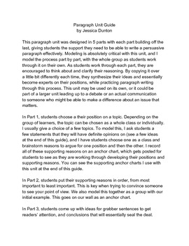 Persuasive Paragraph Complete Unit Guide with Organizers
