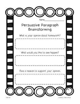 "Persuasive Paragraph Pack ""Please Don't Give Me Homework!"""