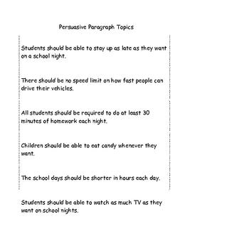 Persuasive Paragraphs