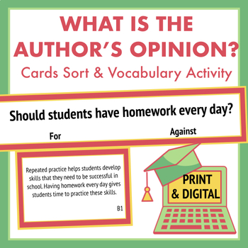 Persuasive Position Cards & Vocabulary Worksheet- Identify the Author's Opinion
