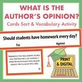 Persuasive Position Task Cards & Vocabulary Worksheet for