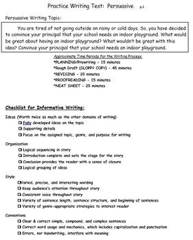 Persuasive Practice Writing Test