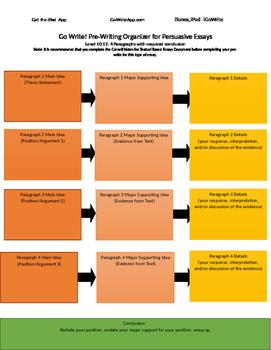 Persuasive PreWriting Graphic Organizer Level 10-12