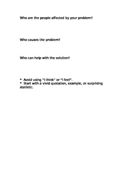 Persuasive Problem Solving Essay and Brainstorm Sheet