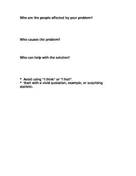 Persuasive Problem Solving Essay and Brainstorm Sheet