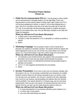 Persuasive Project and Rubric