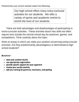 Persuasive Prompt for STAAR English EOC - Extracurricular Activities