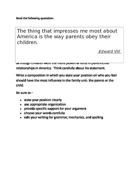 Persuasive Prompt for STAAR English EOC - Parent/Child Relationships