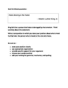 Persuasive Prompt for STAAR English EOC - Who is Hurt by Hate?