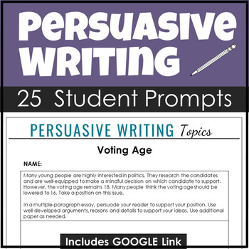 25 Persuasive Prompts of High Interest to Secondary Students