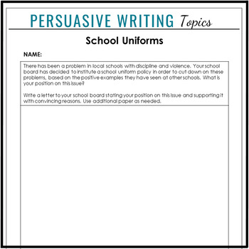 Persuasive & Argumentative Writing Topics & Prompts for Secondary Students