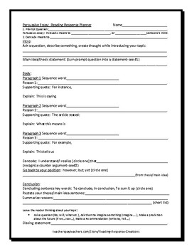 Persuasive Response Essay Planner (for writing about and referring to text)