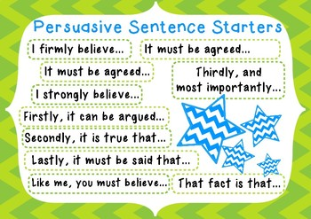 Persuasive Sentence Starters