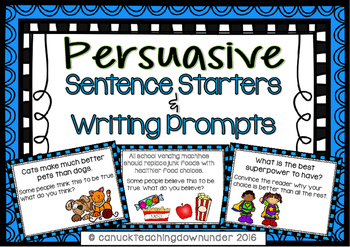 Persuasive Sentence Starters and Writing Prompt Cards