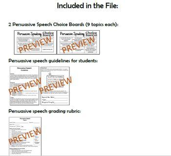 Persuasive Speaking Choice Boards, Guidelines & Grading Rubric