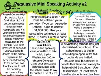 Persuasive Speaking Mini Activities