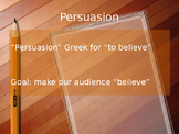Persuasive Speech Assignment, Lesson Plan and Notes