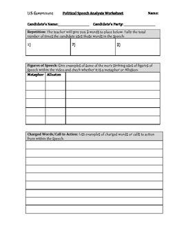 Persuasive Speech/Debate Analysis Worksheet