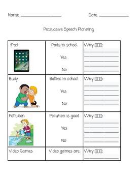 Persuasive Speech Planning ESL
