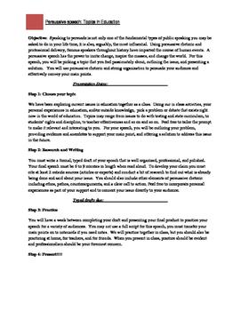 Persuasive Speech Project
