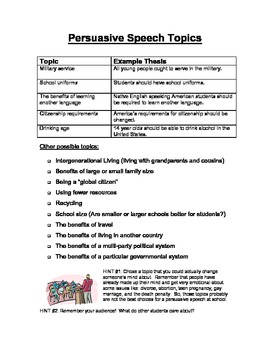 Persuasive Speech Topics Printable for English Learners and Diverse Classrooms