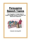 Persuasive Speech Topics Printable for English Learners an