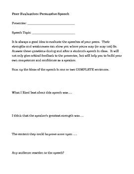 Persuasive Speech peer evaluation