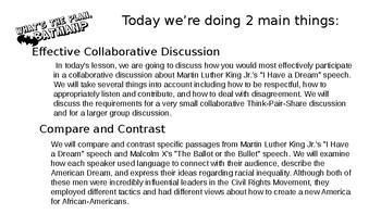 "Persuasive Speech using ""I Have a Dream."" Lesson 5"