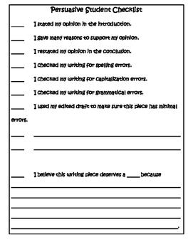 Common Core Aligned Persuasive Student Checklist