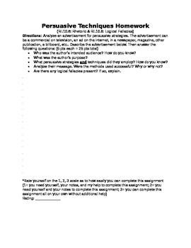 Persuasive Techniques Commercial Homework