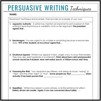 Persuasive Devices and Techniques Notes, Activity and Quiz