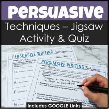 Persuasive Techniques Pack With Notes, Jigsaw Activity & a