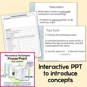 Persuasive Techniques - PowerPoint & Project Bundle (grades 3-5)