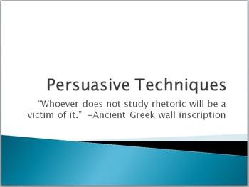 Persuasive Techniques Presentation and Create a Commercial Project Bundle