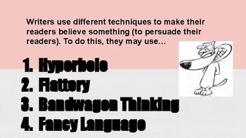 Persuasive Techniques & Propaganda: Bandwagon Thinking, Hyperbole, and Flattery