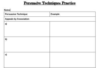 Persuasive Techniques in Advertising Notes and Practice.