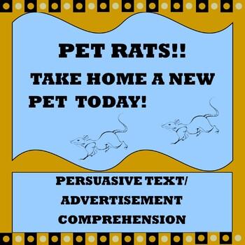 "Persuasive Text/ Advertisement Comprehension ""Pet Rats"""