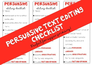 Persuasive Text Editing Checklist