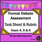 Persuasive Text: Formal Debate Assessment Task Sheet & Rubric