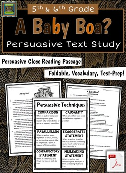 Persuasive Text Study: Close Reading Passage, Notebook Activity, Test Prep