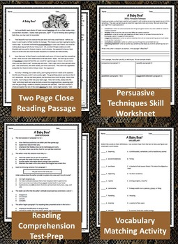 Persuasive Text Study: Close Reading Passage, Notebook Activity, Test Prep